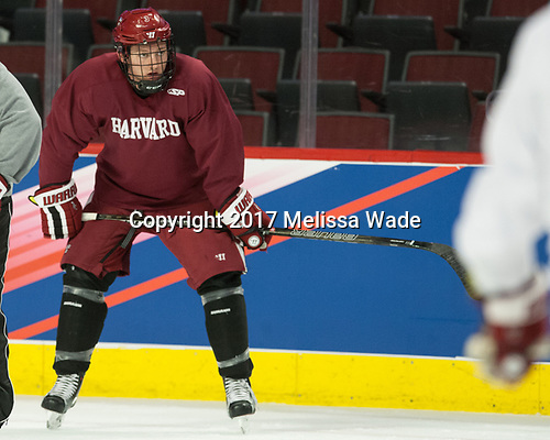 Ryan Begoon (Harvard - 3) - The Harvard University Crimson practiced at the United Center on Wednesday, April 5, 2017, in Chicago, Illinois.