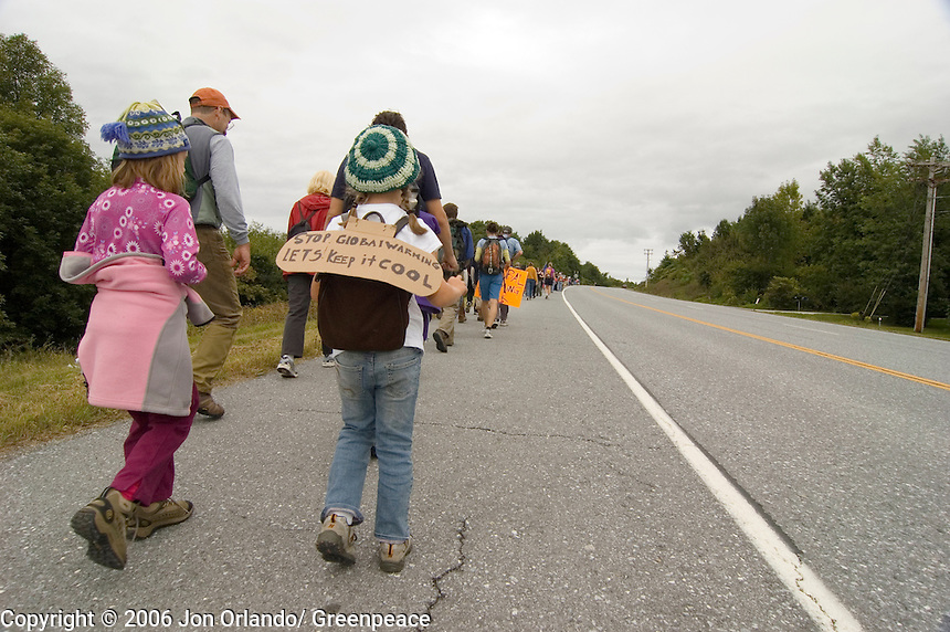 Citizens participate in the fourth day of a five day walk across Vermont to raise awareness on Global Warming.
