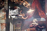 Dettaglio del dipinto 'L'Annunciazione' di Tintoretto, nella Sala Terrena della Scuola Grande di San Rocco a Venezia.<br /> Detail of the painting 'The Annunciation' by Tintoretto in the  Sala Terrena of the Scuola Grande di San Rocco, Venice.<br /> UPDATE IMAGES PRESS/Riccardo De Luca