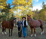 Rick and Chris Grabish with horses, Fancy and Cisco, fall, Little Valley, American West, Estes Park, Colorado, USA