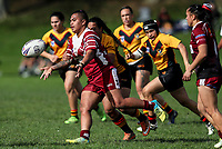 Ngatokotoru Arakua of Papakura passes.  Premier Women's Rugby League, Papakura Sisters v Manurewa Wahine, Prince Edward Park, Auckland, Sunday 13th August 2017. Photo: Simon Watts / www.phototek.nz