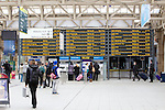 Pix: Shaun Flannery/shaunflanneryphotography.com...COPYRIGHT PICTURE>>SHAUN FLANNERY>01302-570814>>07778315553>>..6th April 2011.................Sheffield Railway Station..Arrival and departure board.