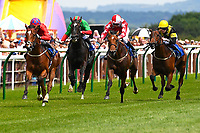 Winner of The Derek Burridge Golf & Racing Trophies Handicap,Pow Wow ridden by Kieran Shoemark and trained by Roger Charlton during Father's Day Racing at Salisbury Racecourse on 18th June 2017