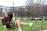 Paris Fashion Week Women AW 2017/2018 - Street Style session in Paris  Isabella Charlotta Poppius - Top: black Kanye West 'Saint Pablo' tour slogan top - Skirt: All Saints black leather a-line zip skirt - Shoes: Common Projects high-top beige suede leather sneakers - Jacket: fur jacket by Yves Salomon - Bag: black Proenza Schouler 'Hava' shoulder bag - Photo Pierre TEYSSOT