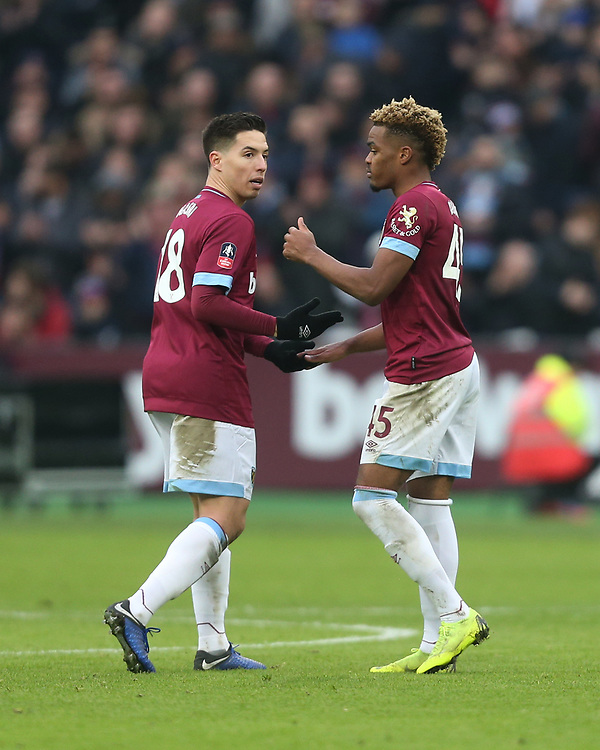 West Ham United's Samir Nasri and Grady Diangana<br /> <br /> Photographer Rob Newell/CameraSport<br /> <br /> Emirates FA Cup Third Round - West Ham United v Birmingham City - Saturday 5th January 2019 - London Stadium - London<br />  <br /> World Copyright © 2019 CameraSport. All rights reserved. 43 Linden Ave. Countesthorpe. Leicester. England. LE8 5PG - Tel: +44 (0) 116 277 4147 - admin@camerasport.com - www.camerasport.com
