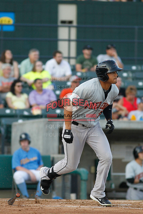 Frederick Keys outfielder Brenden Webb (2) in action during a game against the Myrtle Beach Pelicans at Ticketreturn.com Field at Pelicans Ballpark on May 21, 2015 in Myrtle Beach, South Carolina.  Frederick defeated Myrtle Beach 4-3. (Robert Gurganus/Four Seam Images)