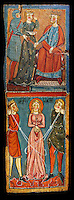 Gothic painted wood panels with scenes of the Martyrdom of Saint Lucy<br /> Circa 1300. Tempera on wood. Date Circa 1300. Dimensions 68.3 x 25.3 x 1 cm. From the parish church of Santa Llúcia de Mur (Guàrdia de Noguera, Pallars Jussà). National Museum of Catalan Art, Barcelona, Spain, inv no: 035703-CJT