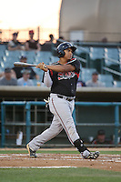 Josh Naylor (32) of the Lake Elsinore Storm bats against the Lancaster JetHawks at The Hanger on August 2, 2016 in Lancaster, California. Lake Elsinore defeated Lancaster, 10-9. (Larry Goren/Four Seam Images)