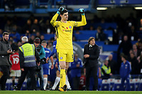 Chelsea goalkeeper, Thibaut Courtois, celebrates their victory at the final whistle during Chelsea vs Manchester United, Premier League Football at Stamford Bridge on 5th November 2017