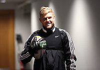 Wednesday, 23 April 2014<br /> Pictured: David Cornell playing with a rugby ball in the tunnel.<br /> Re: Swansea City FC are holding an open training session for their supporters at the Liberty Stadium, south Wales,
