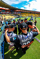 The Black Caps huddle before the International Twenty20 cricket match between the NZ Black Caps and Pakistan at Westpac Stadium in Wellington, New Zealand on Saturday, 6 January 2018. Photo: Dave Lintott / lintottphoto.co.nz