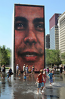 The Crown Fountain alongside South Michigan Avenue on a brilliant summer day, in Millenium Park, Chicago, Illinois.