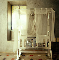 A silver-painted child's cot is draped in mosquito netting in this contemporary bedroom