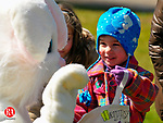 WASHINGTON, CT-27 MARCH 2010-032710JS05-FOR COUNTRY LIFE-Ona Swanson, 4, of Washington takes a moment to say thank you to the Easter Bunny during the 16th annual  Glenholme School's community Easter egg hunt Saturday at the Glenholme Schooll in Washington.<br /> Jim Shannon Republican-American