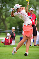 Carlota Ciganda (ESP) watches her tee shot on 18 during Thursday's round 1 of the 2017 KPMG Women's PGA Championship, at Olympia Fields Country Club, Olympia Fields, Illinois. 6/29/2017.<br /> Picture: Golffile | Ken Murray<br /> <br /> <br /> All photo usage must carry mandatory copyright credit (&copy; Golffile | Ken Murray)