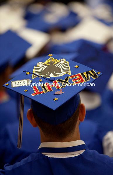 WATERBURY, CT-17 June 2014-061714BF14- The decorated cap of Crosby High School graduate Mexhit Kondri during graduation Tuesday night. Bob Falcetti Republican-American