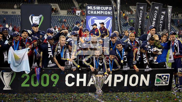 Real Salt Lake Celebrates with the MLS Cup Trophy. Real Salt Lake defeated the LA Galaxy 5-4 on penalty kicks to win the 2009 MLS Cup Championships in Seattle, WA, Sunday, Nov. 22, 2009.