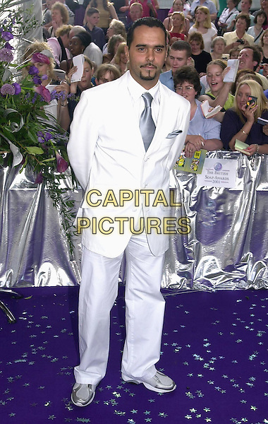 MICHAEL GRECO.The British Soap Awards 2001, London, 25th May 2001..full length white suit trainers.Ref: PL.www.capitalpictures.com.sales@capitalpictures.com.©Capital Pictures.