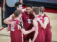 STANFORD, CA - March 14, 2019: Jordan Ewert, Kyler Presho, Jaylen Jasper, Leo Henken, Paul Bischoff at Maples Pavilion. The #8 Stanford Cardinal fell to the #6 Pepperdine Waves 3-0.