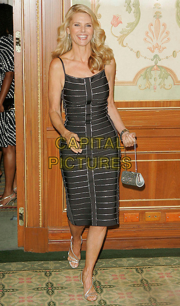 CHRISTIE BRINKLEY.Wearing Herve Leger at The Skin Cancer Foundation's Annual Skin Sense Award Gala at the Pierre Hotel, New York, New York, USA..October 11th, 2006.Ref: ADM/JL.full length black dress striped stripes silver purse.www.capitalpictures.com.sales@capitalpictures.com.©Jackson Lee/AdMedia/Capital Pictures.