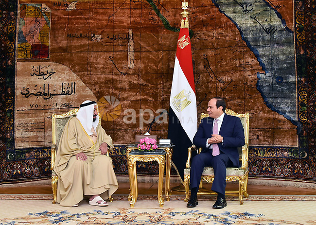 Egyptian President Abdel Fattah al-Sisi meets with the ruler of Sharjah, Sheikh Sultan bin Mohammed al-Qasimi, in Cairo, Egypt, on February 5, 2019. Photo by Egyptian President Office