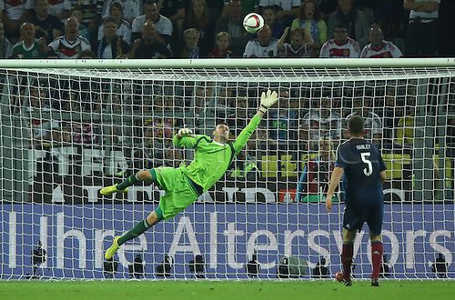 07.09.2014. Dortmund, Germany.   international match Germany Scotland  in Signal Iduna Park in Dortmund. Goalkeeper David Marshall (Scvo) is beaten by the header for 1-0 from Thomas Mueller