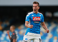 19th July 2020; Stadio San Paolo, Naples, Campania, Italy; Serie A Football, Napoli versus Udinese; Arkadiusz Milik of Napoli celebrates after scoring in the 31st  minute for 1-1