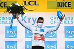 World Champion Mads Pedersen (DEN) Trek-Segafredo wears the first young riders White Jersey at the end of Stage 1 of Tour de France 2020, running 156km from Nice Moyen Pays to Nice, France. 29th August 2020.<br /> Picture: ASO/Alex Broadway | Cyclefile<br /> All photos usage must carry mandatory copyright credit (© Cyclefile | ASO/Alex Broadway)