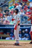 Portland Sea Dogs designated hitter Tate Matheny (7) at bat during the first game of a doubleheader against the Reading Fightin Phils on May 15, 2018 at FirstEnergy Stadium in Reading, Pennsylvania.  Portland defeated Reading 8-4.  (Mike Janes/Four Seam Images)