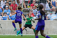 Bridgeview, IL - Saturday July 22, 2017: Alex Morgan, Alyssa Naeher during a regular season National Women's Soccer League (NWSL) match between the Chicago Red Stars and the Orlando Pride at Toyota Park. The Red Stars won 2-1.