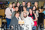 Geraldine Sexton from Killarney celebrating her birthday with her collegues from Fexco in Killorglin at the Kingdom Greyhound Stadium on Friday.