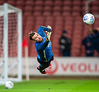 12th February 2020; Bet365 Stadium, Stoke, Staffordshire, England; English Championship Football, Stoke City versus Preston North End; Goalkeeper Declan Rudd of Preston North End makes a save during the warm up