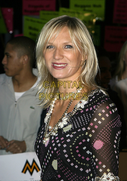 JO WHILEY.MOBO Awards 2004 - Arrivals, Royal Albert Hall.September 30th, 2004.headshot, portrait, pearl necklace, floral print.www.capitalpictures.com.sales@capitalpictures.com.© Capital Pictures.