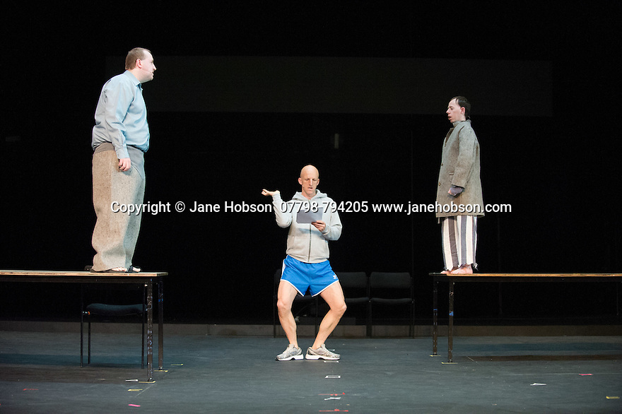 Edinburgh, UK. 09.08.2014.  GANESH VERSUS THE THIRD REICH, presented by Australian company, Back to Back Theatre, opens at the Royal Lyceum Theatre, as part of the Edinburgh International Festival. Picture shows: Brian Tilley, David Woods and Simon Laherty.  Photograph © Jane Hobson.