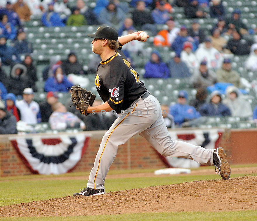 EVAN MEEK, of the Pittsburgh Pirates , in actions during the Pirates game against the Chicago Cubs at Wrigley FIeld on April 1, 2011.  The Pittsburgh Pirates won the game beating the Chicago Cubs 6-3.