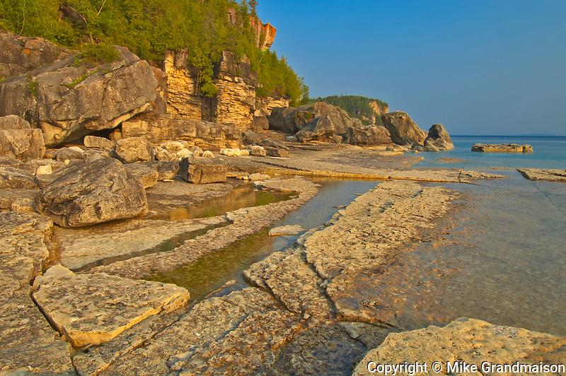 Limestone rock along Georgian Bay (Lake Huron)  at Halfway Log Dump. Bruce Peninsula.<br />Bruce Peninsula National Park<br />Ontario<br />Canada