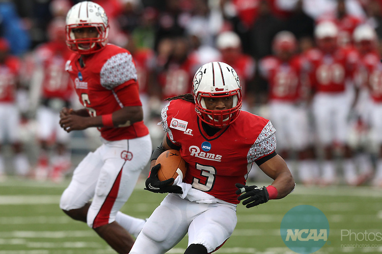 15 DEC 2012:  Maurice Lewis (3) of Winston-Salem State rushes against Valdosta State University during the Division II Men's Football Championship held at Braly Municipal Stadium in Florence, AL. Valdosta defeated Winston-Salem 35-7 to win the national title. Tim Clark/NCAA Photos