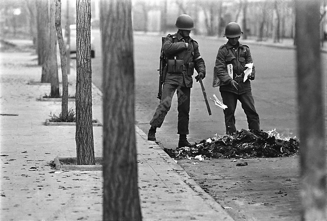 Soldiers burn books that are allegedly subversive during the days after the  military coup that took place on September 11. Santiago, Chile, September 1973