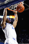 UK guard Aaron Harrison throwing a dunk during the first half of the UK basketball game vs. Boise State on Tuesday, December 10, 2013, in Lexington, Ky. Photo by Kalyn Bradford | Staff
