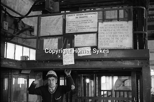 South Kirkby Colliery Yorkshire England. 1979. Safety instructions pit head.