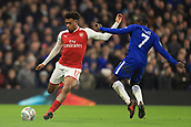 10th January 2018, Stamford Bridge, London, England; Carabao Cup football, semi final, 1st leg, Chelsea versus Arsenal; Alex Iwobi of Arsenal is under pressure from Ngolo Kante of Chelsea