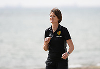 20180305 - LARNACA , CYPRUS :  Belgian physiotherapist Fabienne Van De Steene pictured during a Muscular warm up training session on the beach before a women's soccer game between The Belgian Red Flames and Austria , on monday 5 March 2018 on the CTO Beach in Larnaca , Cyprus . The game will be the third game in group B for Belgium during the Cyprus Womens Cup , a prestigious women soccer tournament as a preparation on the World Cup 2019 qualification duels. PHOTO SPORTPIX.BE | DAVID CATRY