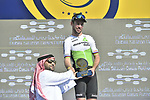 Mark Cavendish (GBR) Team Dimension Data wins Stage 3 The Silicon Oasis Stage of the Dubai Tour 2018 the Dubai Tour&rsquo;s 5th edition, running 180km from Skydive Dubai to Fujairah, Dubai, United Arab Emirates. 7th February 2018.<br /> Picture: LaPresse/Fabio Ferrari | Cyclefile<br /> <br /> <br /> All photos usage must carry mandatory copyright credit (&copy; Cyclefile | LaPresse/Fabio Ferrari)