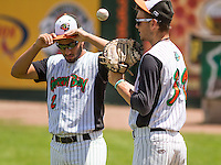 GREEN BAY - June 2015: Green Bay Bullfrogs catcher Franco Guardascione (2) and pitcher Jeremy Graf (31) during a Northwoods League game against the Kenosha Kingfish on June 21st, 2015 at Joannes Park in Green Bay, Wisconsin. Green Bay defeated Kenosha 10-7. (Brad Krause/Krause Sports Photography)