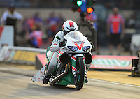 Jun. 29, 2012; Joliet, IL, USA: NHRA pro stock motorcycle rider Keith Burley during qualifying for the Route 66 Nationals at Route 66 Raceway. Mandatory Credit: Mark J. Rebilas-
