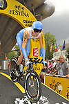 Bradley Wiggins (GBR) Garmin-Slipstream starts Stage 18 of the Tour de France 2009 an individual time trial running 40.5km around Lake Annecy, France. 23rd July 2009 (Photo by Eoin Clarke/NEWSFILE)