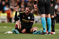 26th February 2020; Estadio Santiago Bernabeu, Madrid, Spain; UEFA Champions League Football, Real Madrid versus Manchester City; Aymeric Laporte (Manchester City) goes down injured and is subbed off in the 33rd minute