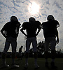New Hyde Park varsity football players participate in a team practice held at Tully Park on Monday, August 24, 2015.<br /> <br /> James Escher