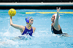 INDIANAPOLIS, IN - MAY 14: Maddie Musselman (7) of UCLA in action against Jamie Neushul (8) of Stanford University during the Division I Women's Water Polo Championship held at the IU Natatorium-IUPUI Campus on May 14, 2017 in Indianapolis, Indiana. (Photo by Joe Robbins/NCAA Photos/NCAA Photos via Getty Images)