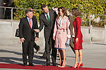 King Felipe VI of Spain and Queen Letizia of Spain receive King Abdullah II of Jordan and Queen Rania of Jordan at Barajas Airport in Madrid, Spain. July XX, 2015. (ALTERPHOTOS/Victor Blanco)
